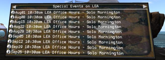 LEA office hours