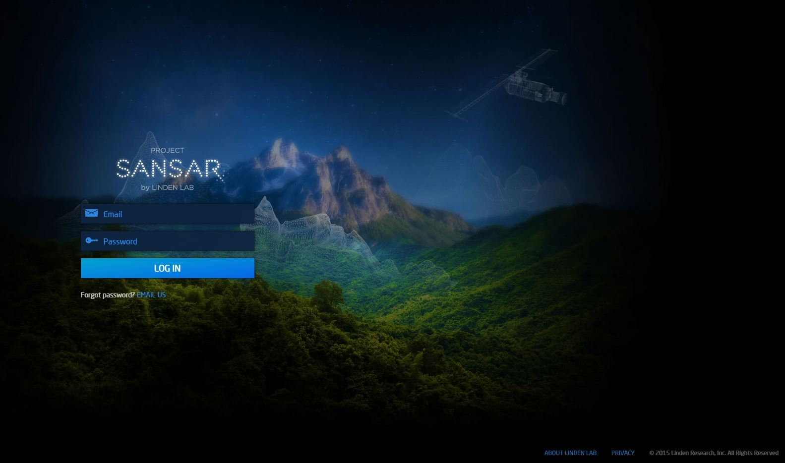 New screenshot of the Project Sansar Login Page